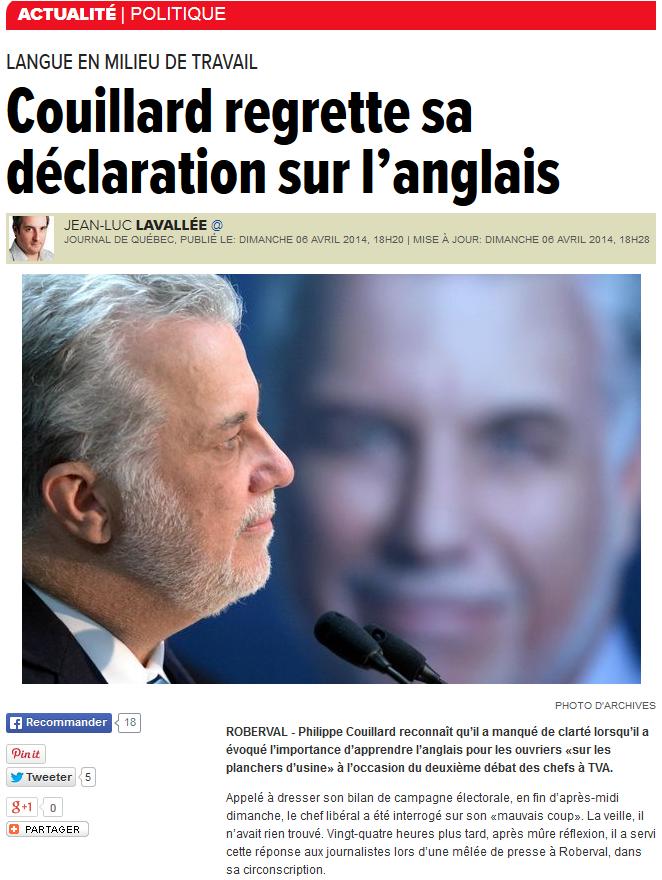 Couillard regrette sa déclaration sur l'anglais