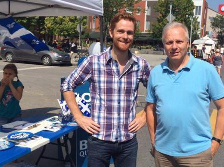 Avec Simon Marchand, candidat du Bloc dans Hochelaga, qui recouvre une partie de l'Est de Rosemont.