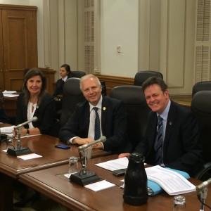 Pendant l'étude du PL20, avec mes collègues Diane Lamarre et Sylvain Rochon